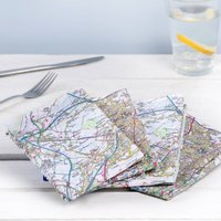 Set Of Four Personalised Mapkins