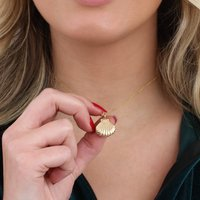 Personalised Silver Or 18ct Gold Opening Shell Locket, Silver
