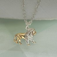 Lion Pendant In Sterling Silver With 18ct Gold Vermeil, Silver