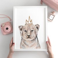 Nursery Decor Lion Cub Animal Print Unframed