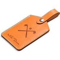 Personalised Leather Golf Bag Tag, Dark Brown/Brown/Tan