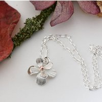 Small Silver And Rose Gold Daisy Necklace, Silver