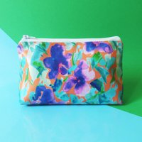 Purple Floral Waterproof Cosmetic Bag