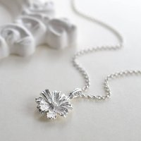 Sterling Silver Cosmos Flower Necklace, Silver