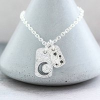 Silver Moon And Stars Tag Necklace, Silver