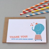 12 Personalised Circus Elephant Thank You Cards