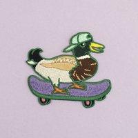 Skateboarding Mallard Iron On Embroidered Patch