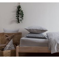Ticking Stripe Blue Grey Fitted Sheet