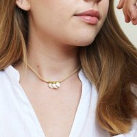 Faux Suede And Shell Charm Choker Necklace
