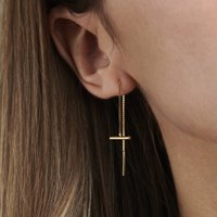 T Bar 9ct Gold Pull Through Earrings, Gold