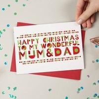 Wonderful Mum Dad Christmas Card