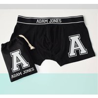 Personalised Alphabet Letter Initial Boxer Briefs, White/Gold/Silver