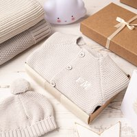 Luxury Grey Bobble Hat And Cardigan Baby Gift Box