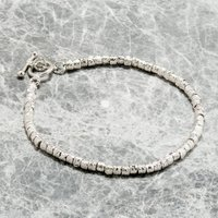 Silver, Gold Or Rose Gold Textured Bead Bracelets, Silver