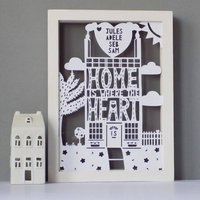 Personalised 'Home Heart' Family Papercut Or Print