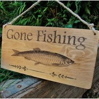 Vintage Gone Fishing Wood Sign