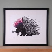 Punky Porcupine Woodcut Print