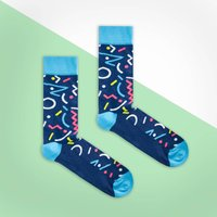 Blue Multi Colour Retro Sock, Blue