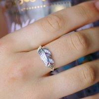 Slender Sterling Silver Feather Ring, Silver