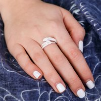 Feather Sterling Silver Adjustable Ring, Silver