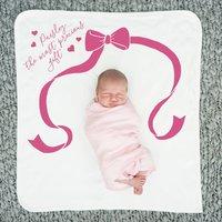 Personalised Precious Gift Baby Blanket, White/Fuchsia/Royal Blue