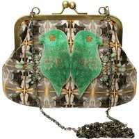 Jewelled Parrot Printed Silk Handbag