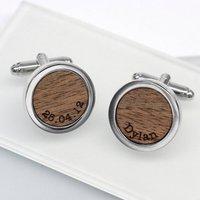 Walnut Wood Name And Date Cufflinks