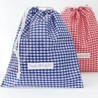 Boys Personalised Drawstring Pe Bag, Red/Blue/Pink