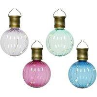 Set Of Four Multi Coloured Solar Light Bulbs