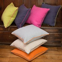Piped Cushion Collection, Indigo/Lime/Pink