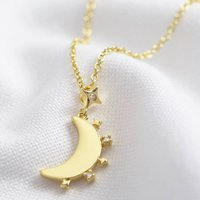 Crystal Edge Moon Pendant Necklace