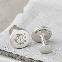 Silver Personalised Entwined Monogram Cufflinks, Silver