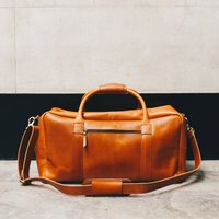 Personalised Mens Leather Holdall Travel Bag Pioneer, Coffee/Tan