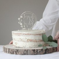 Personalised Floral Wreath Wedding Cake Topper