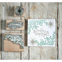 Christmas Greeting Rubber Stamps