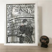 'Two Embracing Lovers' Original Handcrafted Papercut