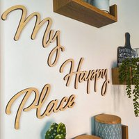 'My Happy Place' Wood Words