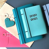Refillable And Week To View Personalised Leather Diary, Teal/Green/Aqua