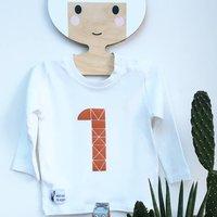 Kids Long Sleeve White Birthday Geometric T Shirt