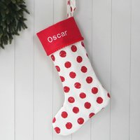 Luxury Red Spot Personalised Christmas Santa Stocking