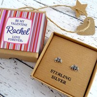 Valentine's Sterling Silver Bumble Bee Stud Earrings, Silver