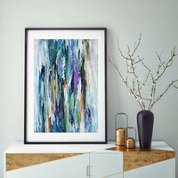 Blue Abstract Art Print Room Decor