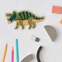 Triceratops Dinosaur Embroidered Sticker Badge