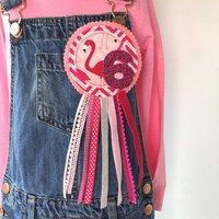 Handmade Girls Flamingo Birthday Rosette Badge