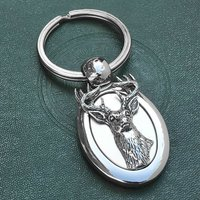 Personalised Stag Head Keyring With Engraved Name