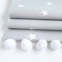 Grey Stars Roman Blind With Pom Pom Trim