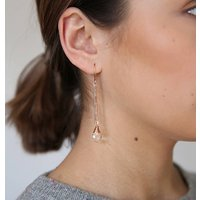 Long Crystal Twig Earrings