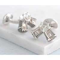 Solid Silver Moving Piston Cufflinks, Silver