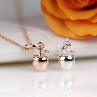 Rose Gold Or Silver Apple Pendant, Silver