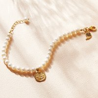Pearl And Gold Charm Bracelet, Gold